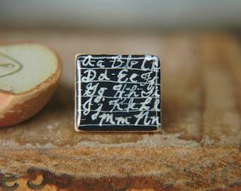 Chalkboard Ring Back to School Design Hand Painted Adjustable Scrabble Tile - Penmanship 101.