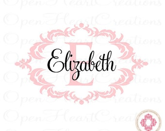 Baby Name Wall Decal with Elegant Shabby Chic Frame - Nursery Girl Vinyl Wall Decal Monogram 22H x 36W FN0369