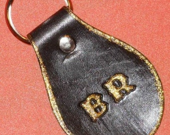 Initial Black Leather Keychain