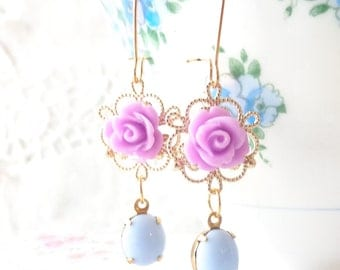 Upon Julia's Clothes - Vintage Jeweled Earrings - Flower - Bridal