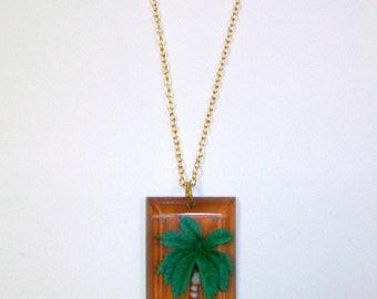 Vintage Plastic Palm Tree Necklace DEADSTOCK