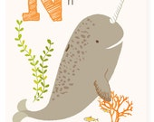 ABC wall art, ABC card, N is for Narwhal, alphabet flash cards, nursery wall decor for kids
