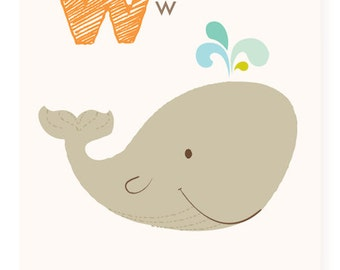 W is for Whale - ABC wall art - nursery wall art for kids