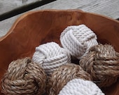 Nautical and Rustic Home Decor - Nautical Bowl Fillers - 6 knots - Cotton and Manila