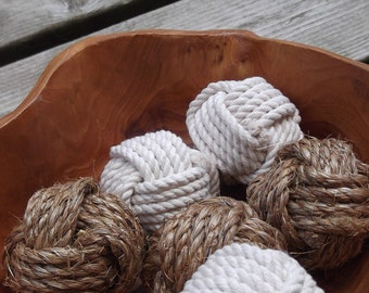 Nautical and Rustic Home Decor - Nautical Bowl Fillers - 6 knots - Cotton and Manila Rope