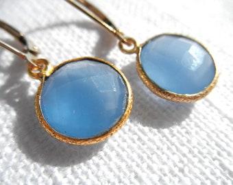 Blue Chalcedony earrings - blue earrings - gold earrings - E A R R I N G S 107