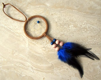 Dream Catcher - Small Brown Native American Blue Feather Beaded Dreamcatcher Car Dream Catcher