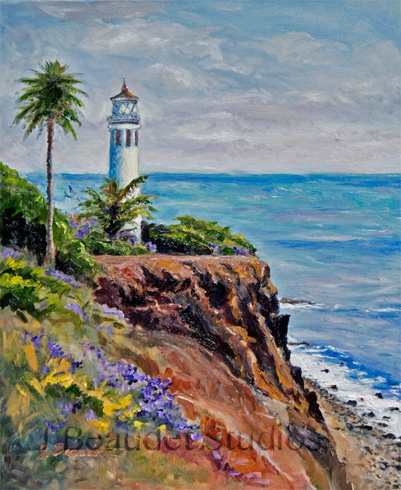 Print Original oil Painting landscape California Coast Beach coastal decor Nautical art