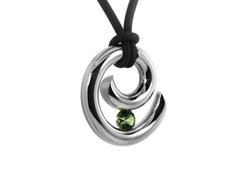 Peridot Tension Set Necklace Stainless Steel Design