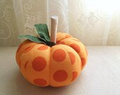 Orange Polka Dot Fabric Medium Pumpkin Autumn Decor