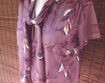 Vintage Plumb and Lavender Leaf Print Ascot Boho Blouse L