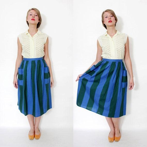 Vintage skirt / vertical stripes pocket midi skirt / size M