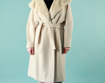 Vintage 50s Wool Coat Ivory Cream Sheared Beaver Fur Large Belted A Line - Large
