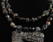Texture Black & Blue Handmade Ceracmic and Glass Necklace