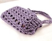 Cotton Soap Holder, Purple Crochet Soap Saver, Purple Soap Bag