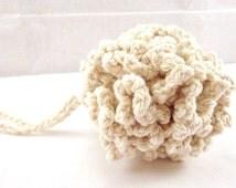 Crochet Bath Puff, Cotton Shower Puff, Cotton Bath Scrubbie, Oatmeal puff