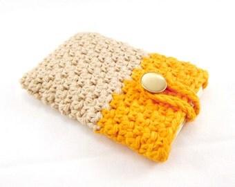Orange Phone Case, Cotton Phone Case, Beige Phone Cover, Crochet Case, buttoned case