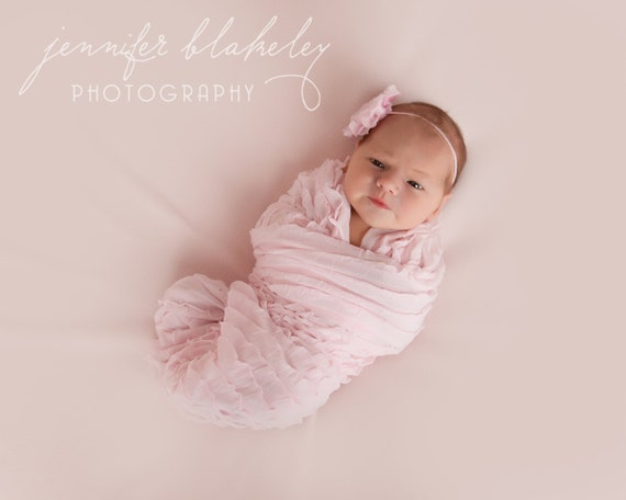 Ruffle Wrap Pink and Rosette Headband Newborn Photography Prop Shabby Chic