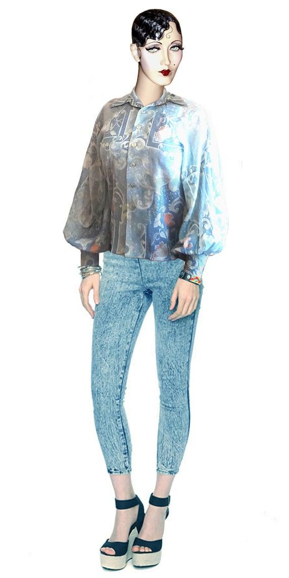 Retro/Vintage: Pastel-Blue Floral-Paisley Puff-Sleeve Big-Collar Slightly Shear Cotton Shirt/Blouse
