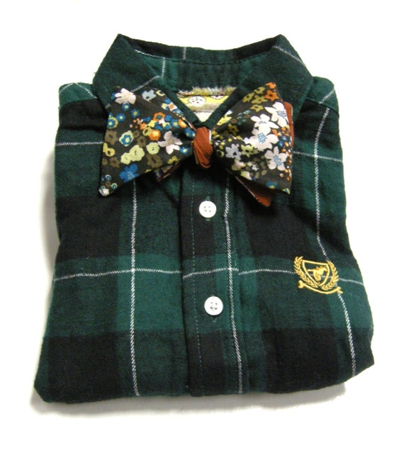 Boys Top, Flannel Plaid Bow Tie Shirt with Urban Floral Bow Tie Size 4T from the John Richard Line for Boys