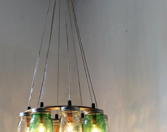 THINK GREEN Mason Jar Chandelier, Upcycled Hanging Mason Jar Lighting Fixture For Direct Hardwire, Modern BootsNGus Lamps Rustic Home Decor