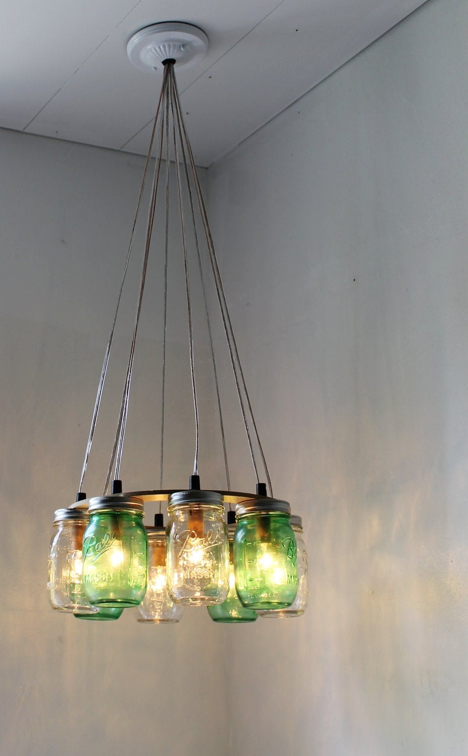 Think green mason jar chandelier upcycled hanging mason jar for Diy kitchen light fixtures