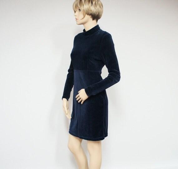 Vintage Dress / Velour / Blue / Mod / Boho / Navy Blue / Wiggle Dress / Lizsport / Size Small / Mini