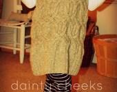 Tan upcycled toddler knit dress/ jumper w/ bird