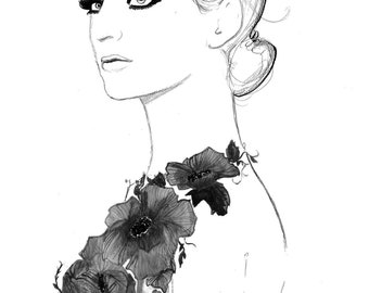 Print from original watercolor fashion illustration by Jessica Durrant, titled Always the Flower Child-black and white edition