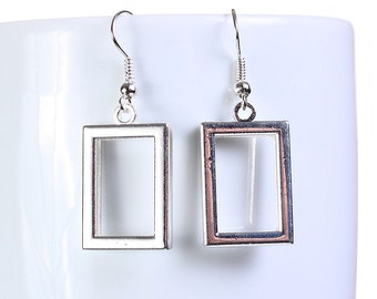 Silver rectangle dangle earrings (657) - Flat rate shipping
