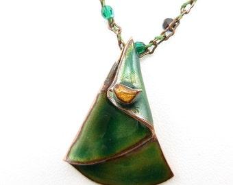 Tiny Bird on a Pine Tree Necklace