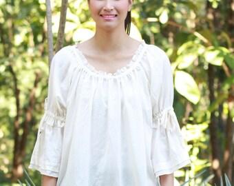 SALE 28 USD--B047--Cream N sugar (Cotton blouse)