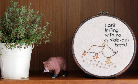 "Picky Duck Hand Embroidery - 6"" Hoop - RESERVED for Stefanie"
