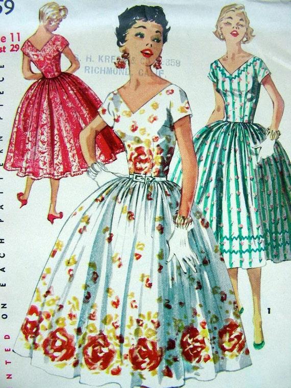 items similar to 50s simplicity dress pattern 1156