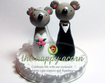 Koala Wedding Cake Topper Bride and Groom Australian Koala Bears - Handmade by The Happy Acorn