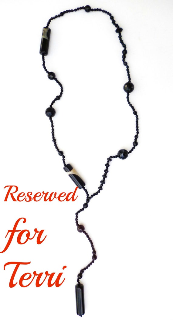"Reserved ""For Terri"" fabulous total black gem necklace"