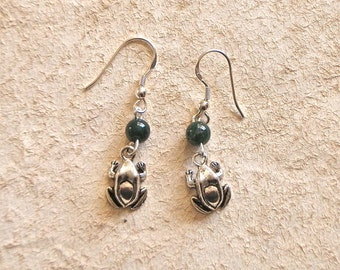 Frog and Green Agate Bead Earrings