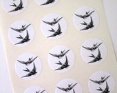 Flying Birds Swallow Sparrow Stickers One Inch Round Seals