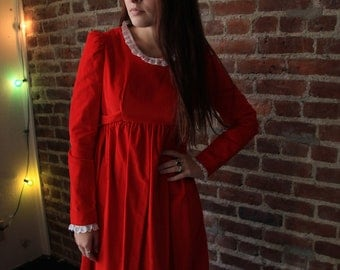NUTCRACKER WALTZ - Gorgeous 1960s Scarlet Red Maxi Dress Velvet Retro Victorian Lace Holiday Handmade S M