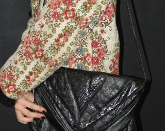 Vintage Tooled Black Leather BAG, 1980s