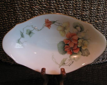 LENOX Vintage China Candy Dish, made in USA, hand-painted, pansies