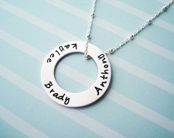 Mother's Custom Necklace Sterling Silver - Encircle Me - Matte Finish Circle Pendant Wife Girlfriend Sister best friend