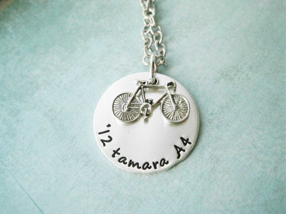 Bike Necklace Custom Sterling Silver  - Let's Ride - Personalize children stamped stamp mom mother custom engraved personalized