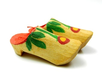 Vintage Miniature Collectible Wooden Dutch Shoes Hand Carved, Tiny Shoes, Little Shoes
