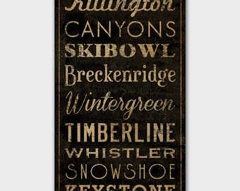 Custom PERSONALIZED Graphic Art SKI Areas Sign -- Stretched Canvas Wall Art 12 x 24 x 1.5 inches Anniversary Engagement Wedding Gift