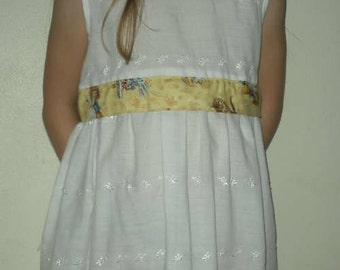 SALE close out! Alice in Wonderland  pinafore OOAK embroidered up-cycled white islet dress size 7
