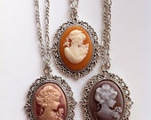 Classic Lady Cameo Pendant Necklaces 3 Available
