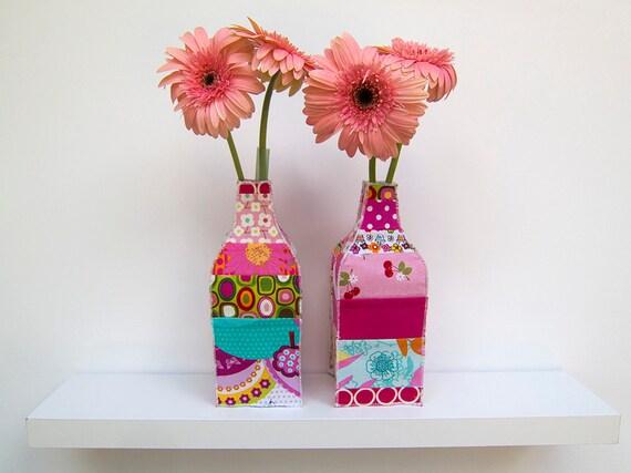 Patchwork Fabric Bud Vases Set of Two Mason Jar Covers Pink Green Orange Nursery Decor Ready to Ship