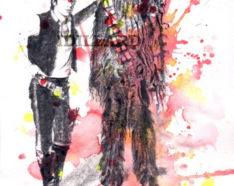 Han Solo and Chewbacca Star Wars Art Print From Original Watercolor Painting Star Wars print Star Wars Poster Print Movie Poster Pop Art