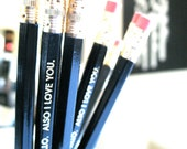 6 PENCILS - Hello Also I love you - black and gold GRAPHITE hex pencil set w/ stamped kraft pencil case - Back to school